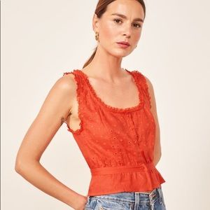 Reformation Luisa Eyelet Top in Hot Day